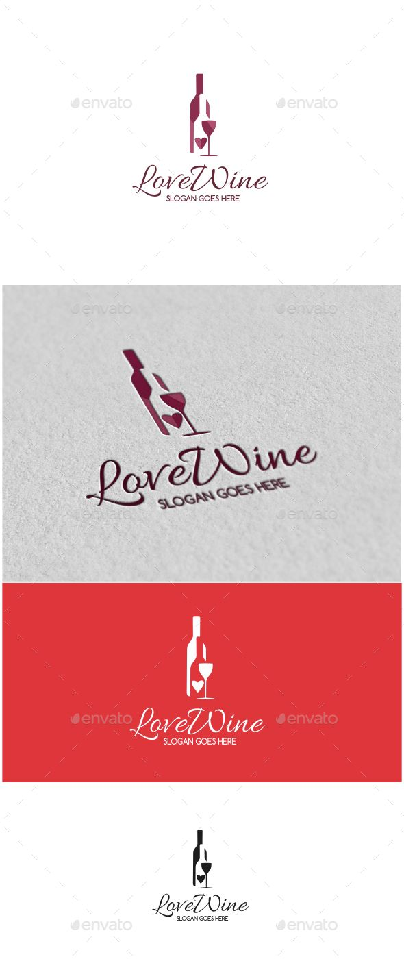 590x1400 Love Wine Logo Template Vector Eps, Ai Illustrator. Download Here