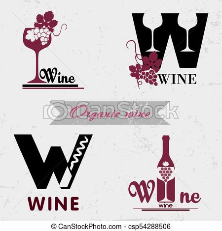 450x470 Organic Wine Logo. Set Of Badges And Labels Elements For Wine
