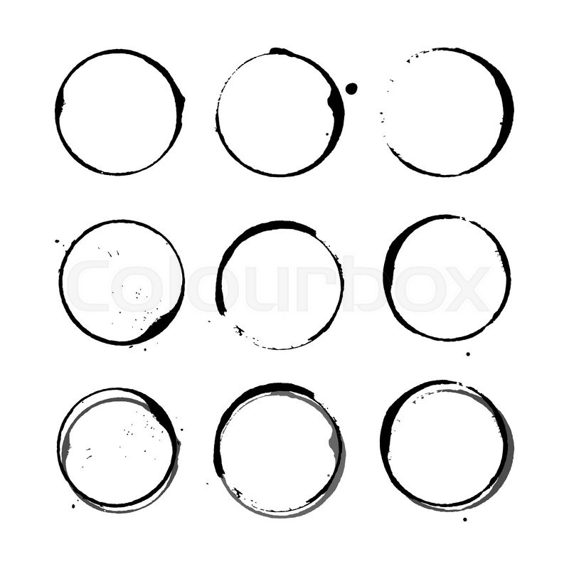 800x800 Vector Set Of Black Silhouette Wine Stain Circles, Splashes And