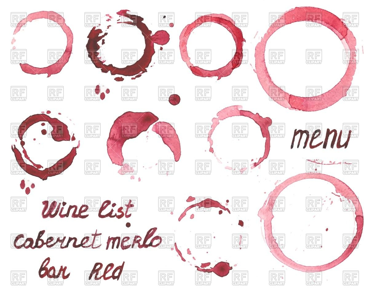 1200x943 Wine List Or Menu With Set Of Watercolor Painted Wine Stains