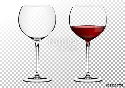 500x354 Set Transparent Vector Wine Bordo Glasses Empty, With Red Wine