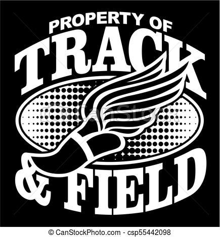 435x470 Property Of Track And Field Team Design With Winged Foot For
