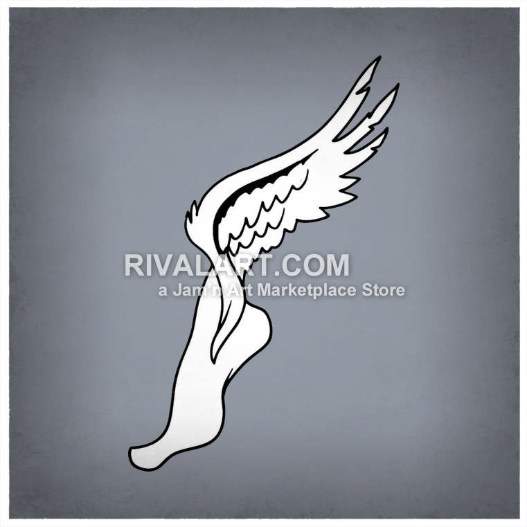 761x761 Track Field Logo Graphic Symbol Foot With Wings Or Flying Winged Shoe