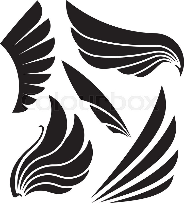 725x800 Set Of Five Decorative Wings. Vector Illustration. Stock Vector