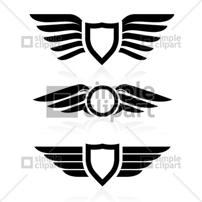 400x400 Shield With Wings Symbol Vector Image