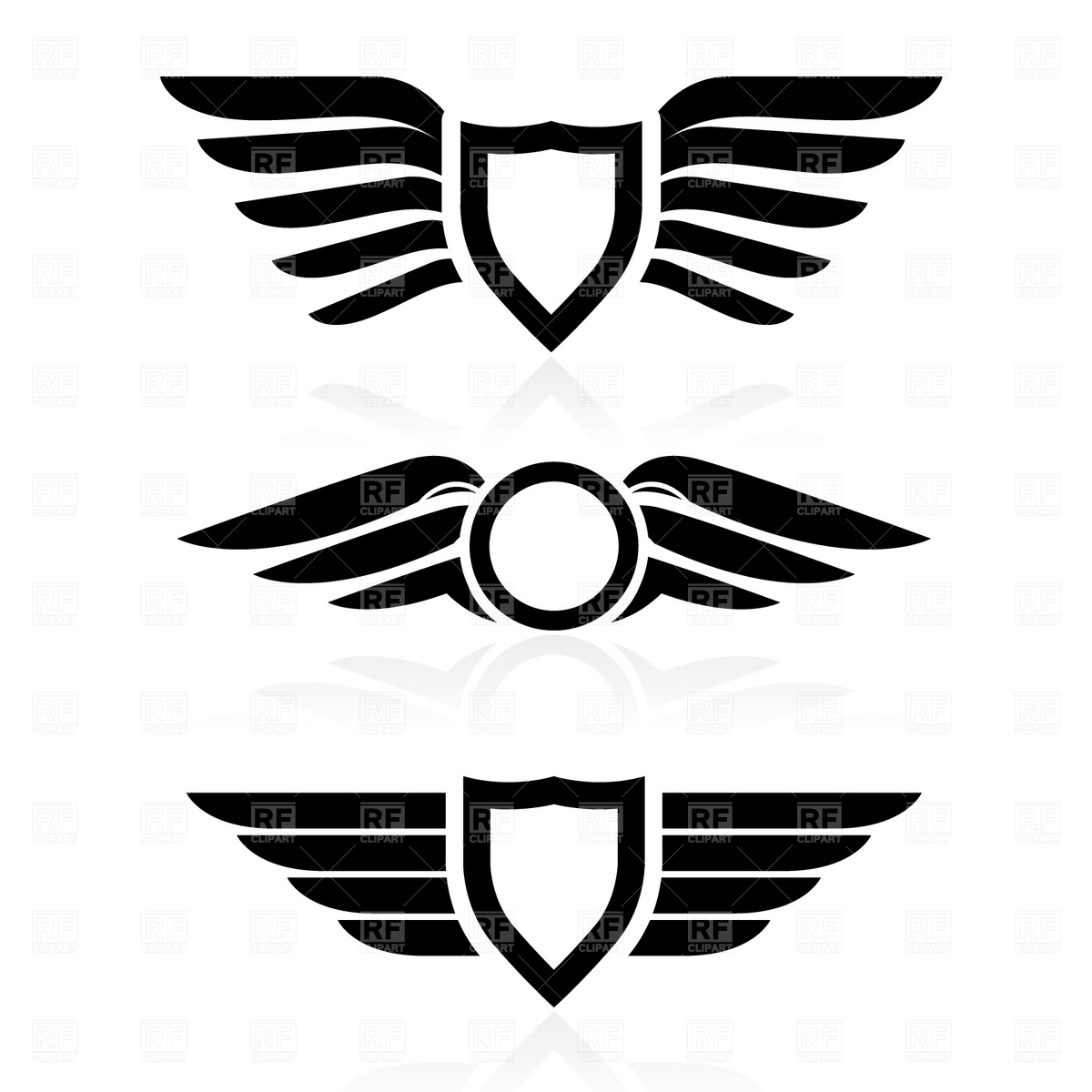 1200x1200 Shield With Wings Symbol Vector Image Vector Artwork Of Icons