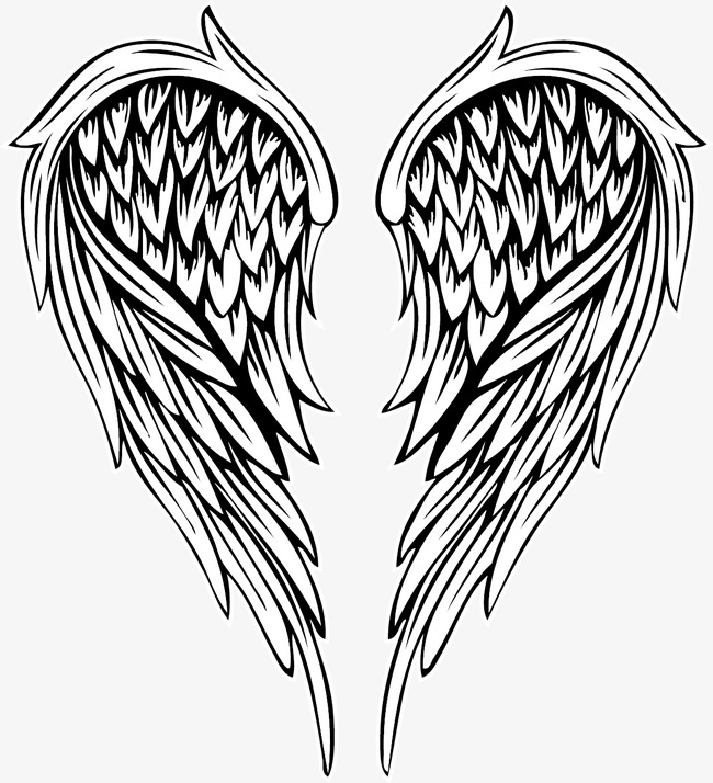 650x714 Vector Painted Feather Angel Wings, Vector, Hand Painted, Angel