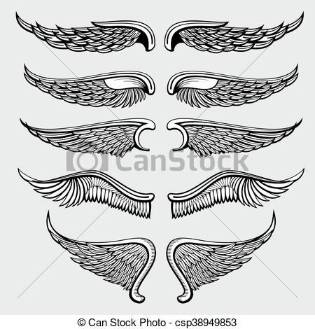 450x470 Heraldic Bird, Angel Wings Vector Set. Wings Angel Tattoo