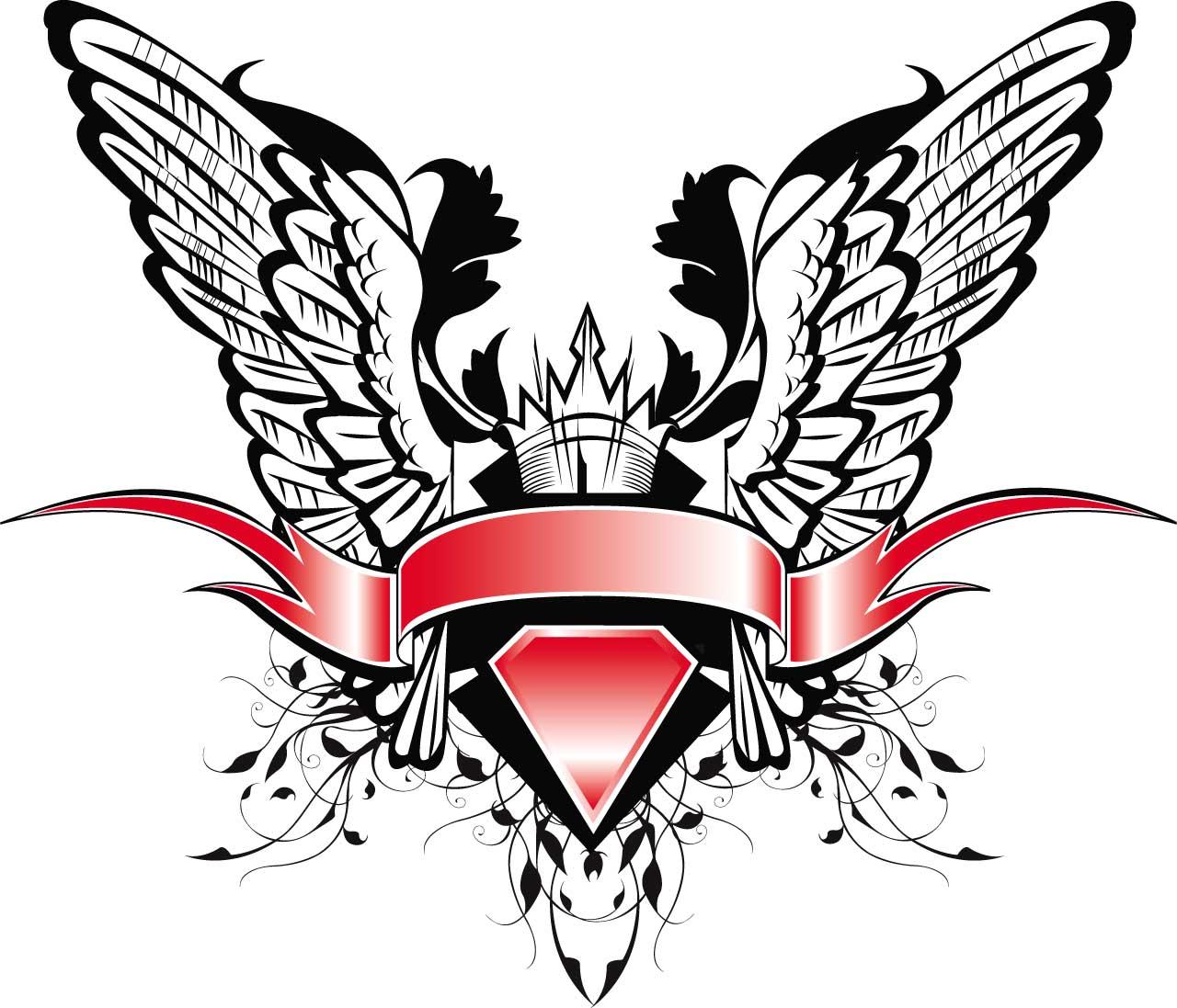 1280x1097 Heraldic Design Vector Wings Free Download
