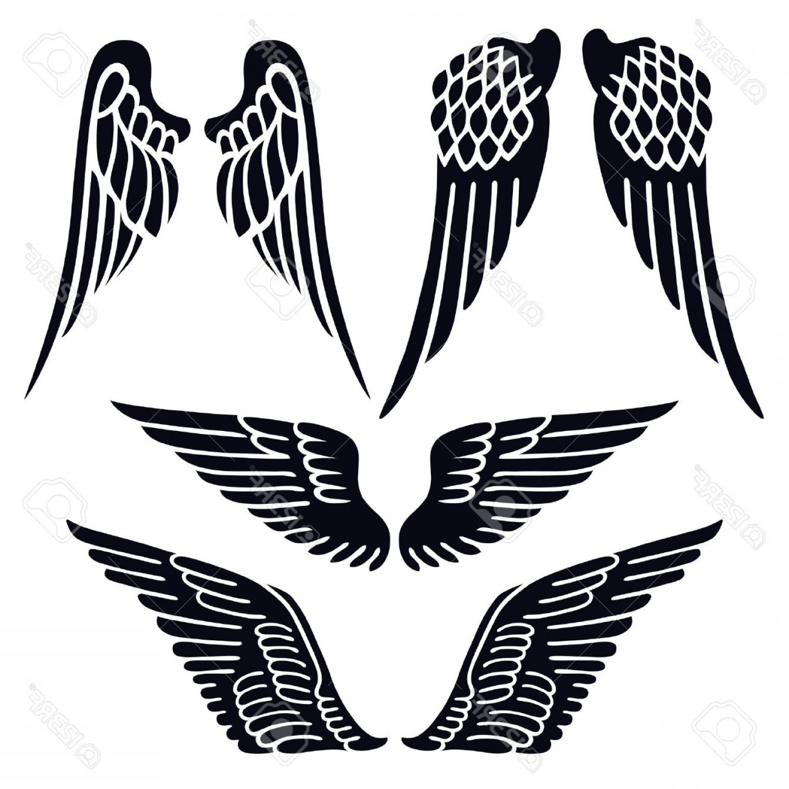 1560x1560 Photostock Vector Angel Wings Set Silhouette Isolated On