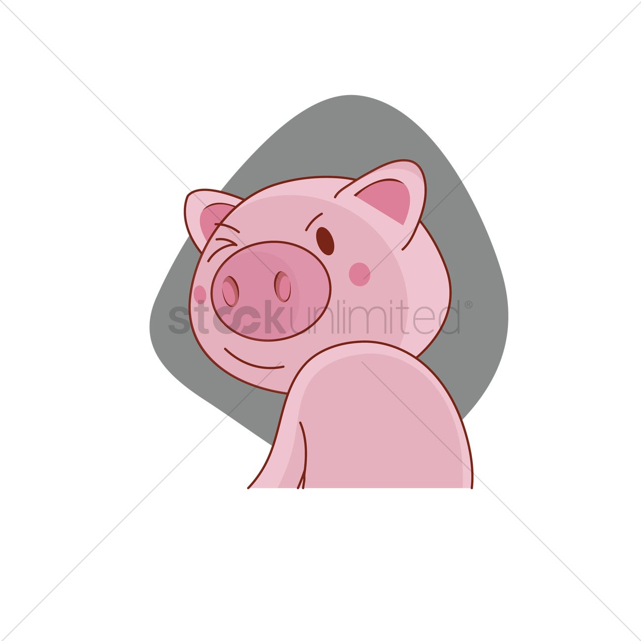 1300x1300 Pig Character Turning Back To Wink Vector Image