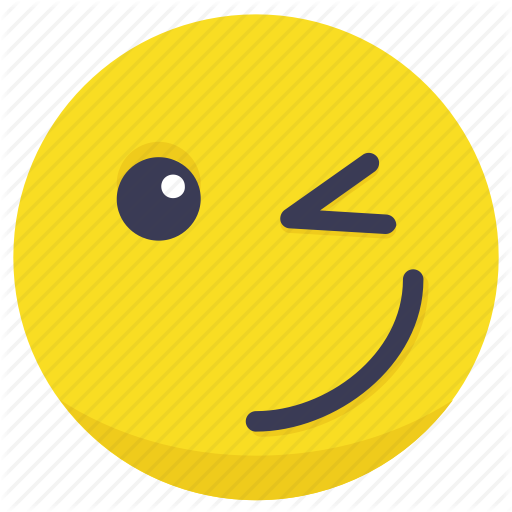 512x512 Smiling Yellow Cartoon Smiley Face Character With Wink... Vector