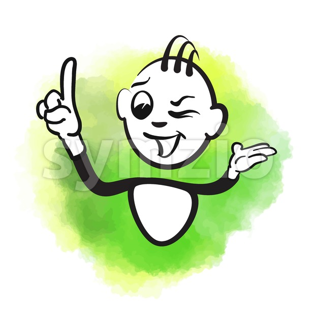 620x620 Vector Stick Man Of Happy Male Wink Vector Illustration 143378