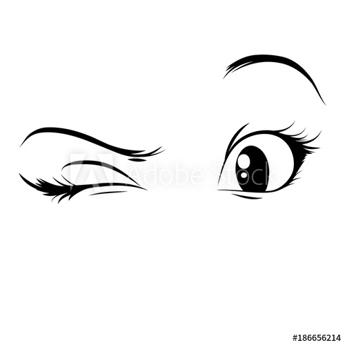 500x500 Anime Eyes On A White Background. A Glance, A Wink. Vector Girl