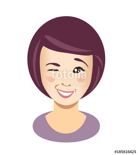 445x500 Cute Young Woman Wink. Vector Stock Image And Royalty Free Vector