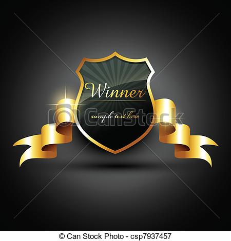 450x470 Winner Label. Vector Winner Golden Label Sign With Space For Your