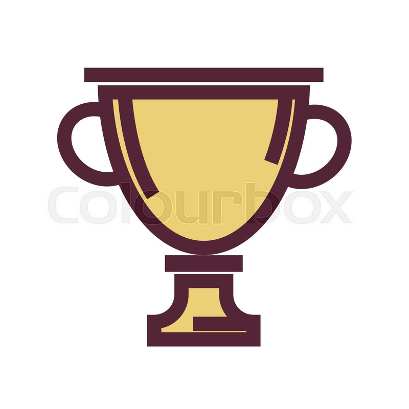800x800 Golden Trophy Cup With Thick Maroon Outline Isolated Flat Vector