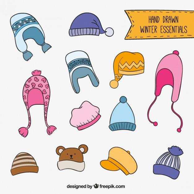 626x626 Hand Drawn Winter Hats Vector Premium Download