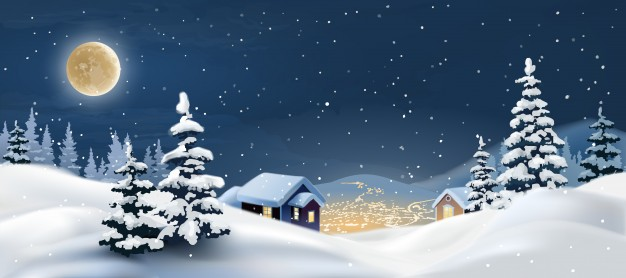 626x278 Vector Illustration Of A Winter Landscape. Vector Free Download