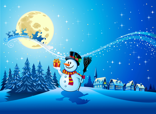 500x365 Beautiful Christmas Night Winter Vector Background 01 Free Download