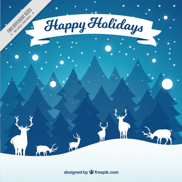 626x626 Winter Background With Reindeer Silhouettes Vector Free Download