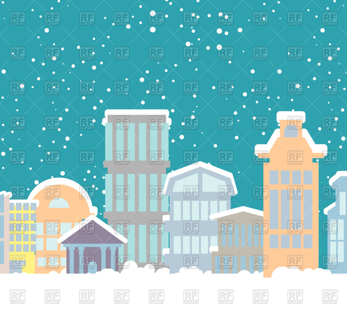 1200x1108 Winter City Vector Image Vector Artwork Of Architecture
