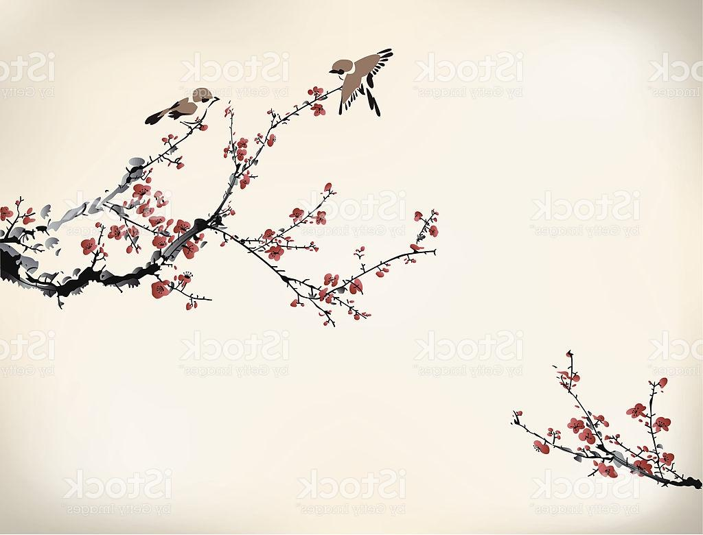 1024x780 Hd Digital Drawing Of Birds In Japanese Cherry Tree Winter Vector