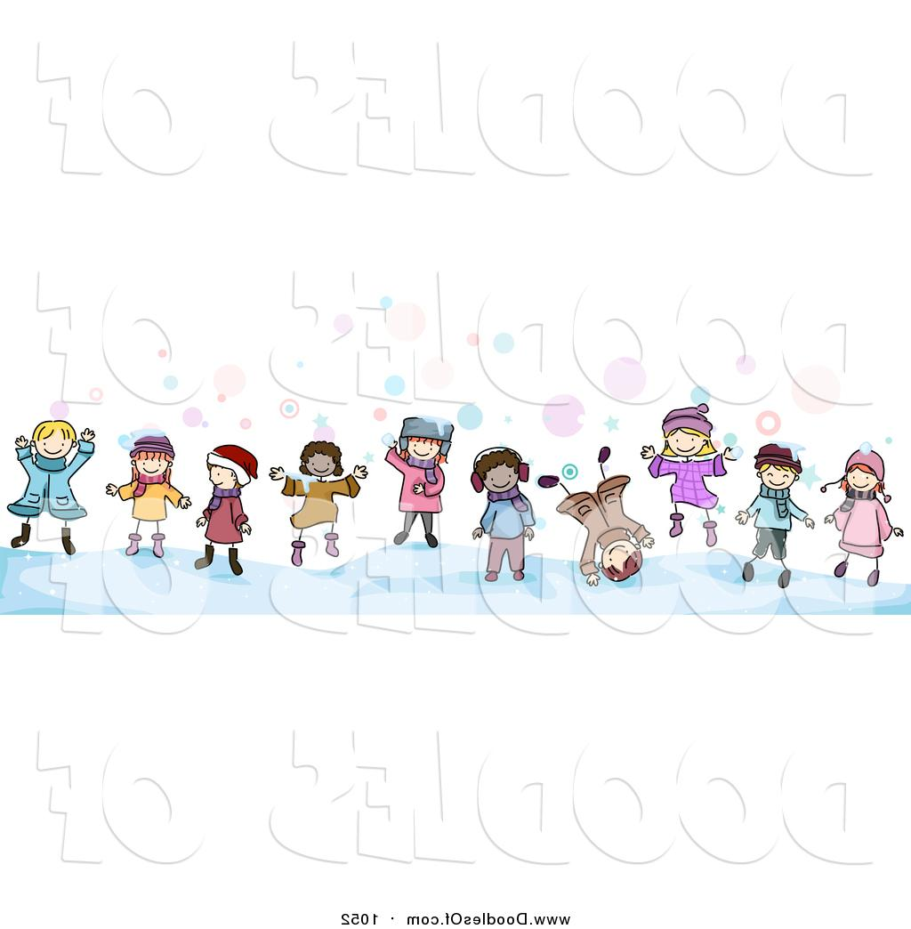 1024x1044 Hd Vector Clipart Of Doodled Border Winter Kids By Bnp Design