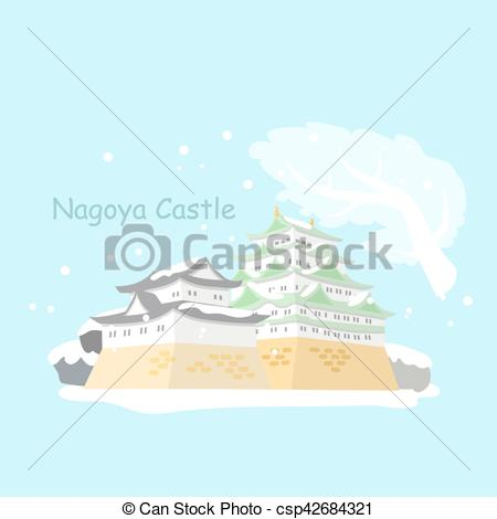 450x470 Japan Nagoya Castle In Winter. Cartoon Japan Nagoya Castle With