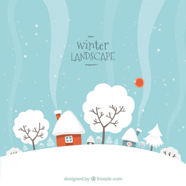 626x626 Snowy Winter Landscape Vector Free Download