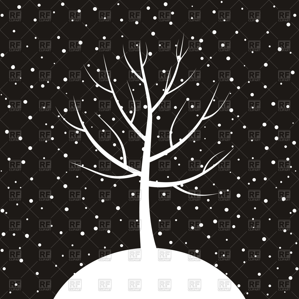 1200x1200 White Tree On Winter Background Vector Image Vector Artwork Of