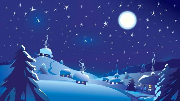 748x421 Digital Art, Nature, Moon, Stars, Sky, Night, Clouds, Blue