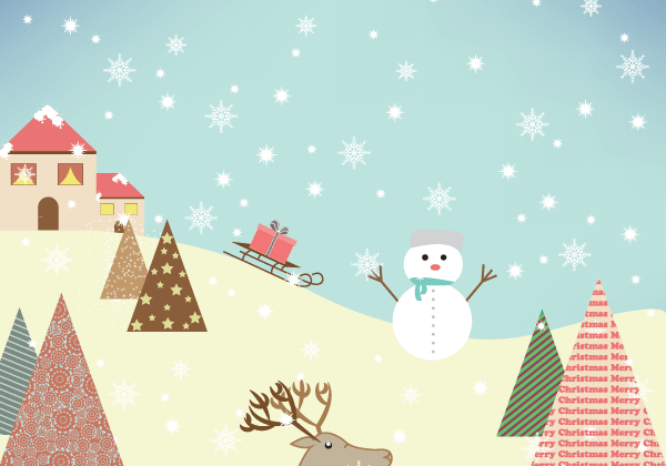 600x420 Free Winter Vector On Mountain With Snowflakes, Snowman And Trees