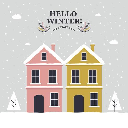 490x490 Hello Winter Vector Background