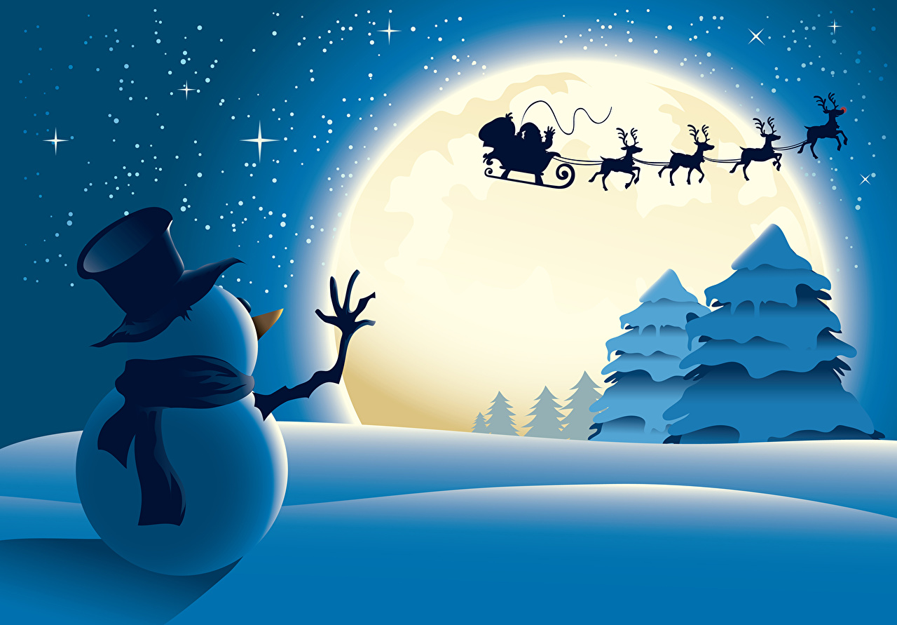 1280x891 Pictures New Year Winter Hat Moon Snowmen Holidays Vector Graphics