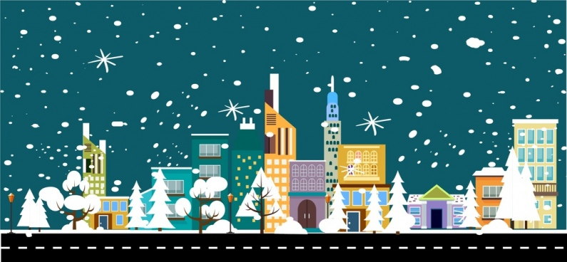 795x368 Vector Winter Landscape City Free Vector Download (3,829 Free