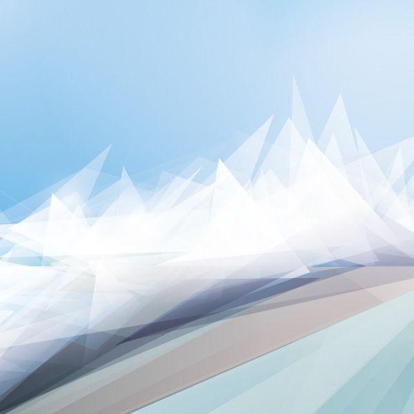 600x600 White Winter Landscape Vector Graphic Triangular, Mountains