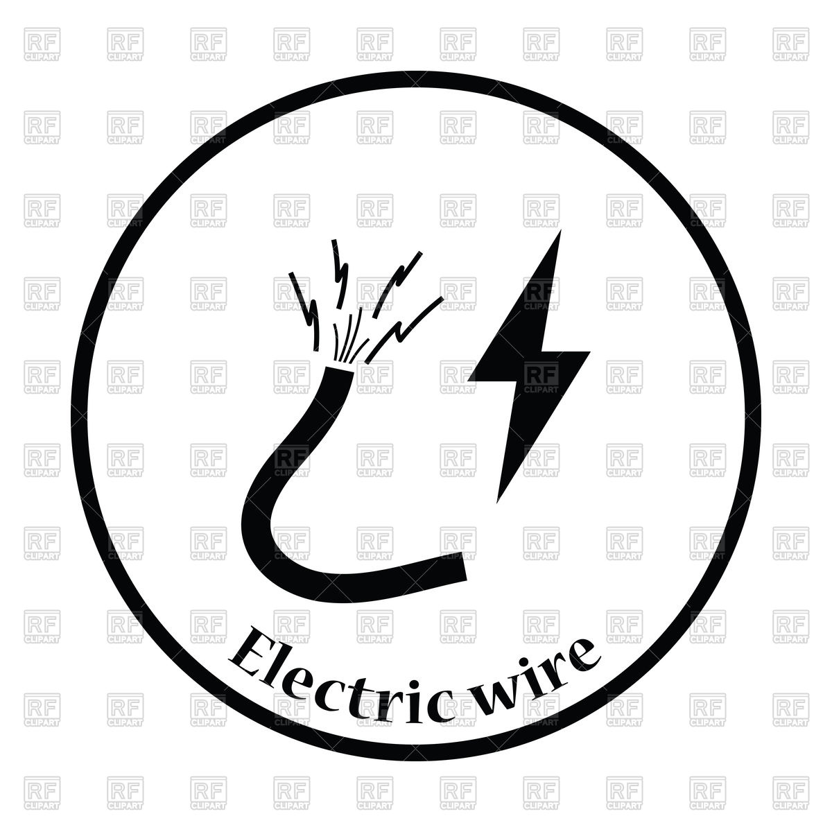 1200x1200 Thin Circle Design Icon Of Electric Wire Vector Image Vector