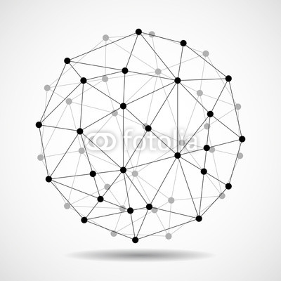 400x400 Abstract Wireframe Globe Sphere, Network Connections. Vector Buy