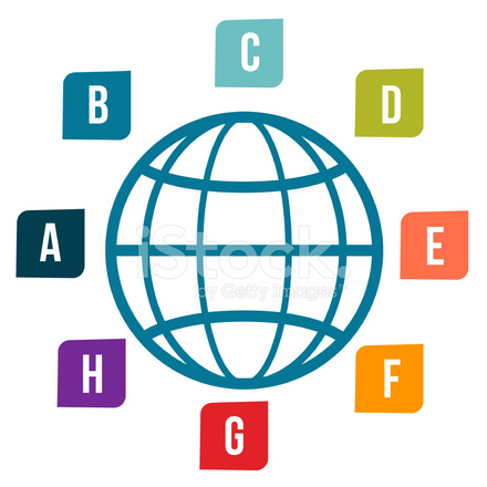 440x440 Wireframe Globe And Labels Stock Vector