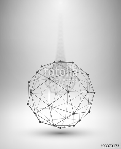 408x500 Wireframe Globe. Sphere With Connected Lines And Dots. Stock