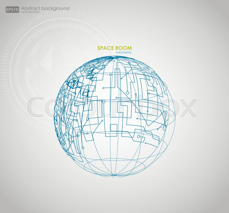 800x743 Wireframe Mesh Polygonal Element. Sphere With Connected Lines And