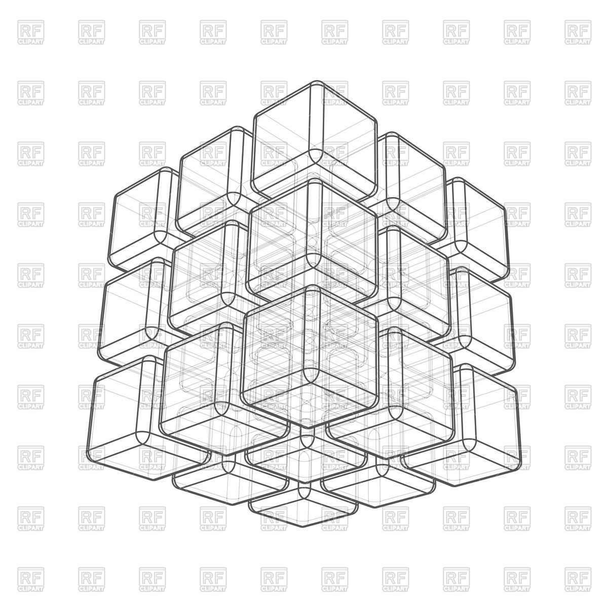 1200x1200 Cube 3d Wireframe On White Background Vector Image Vector