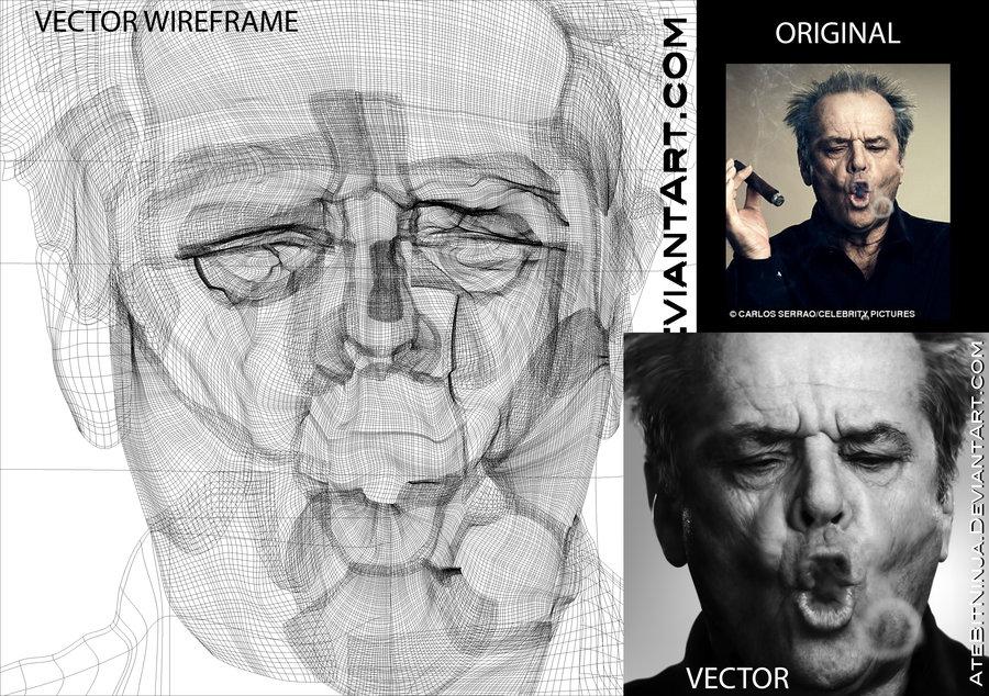 900x634 Jack Nicholson Vector Wireframe By Atebitninja