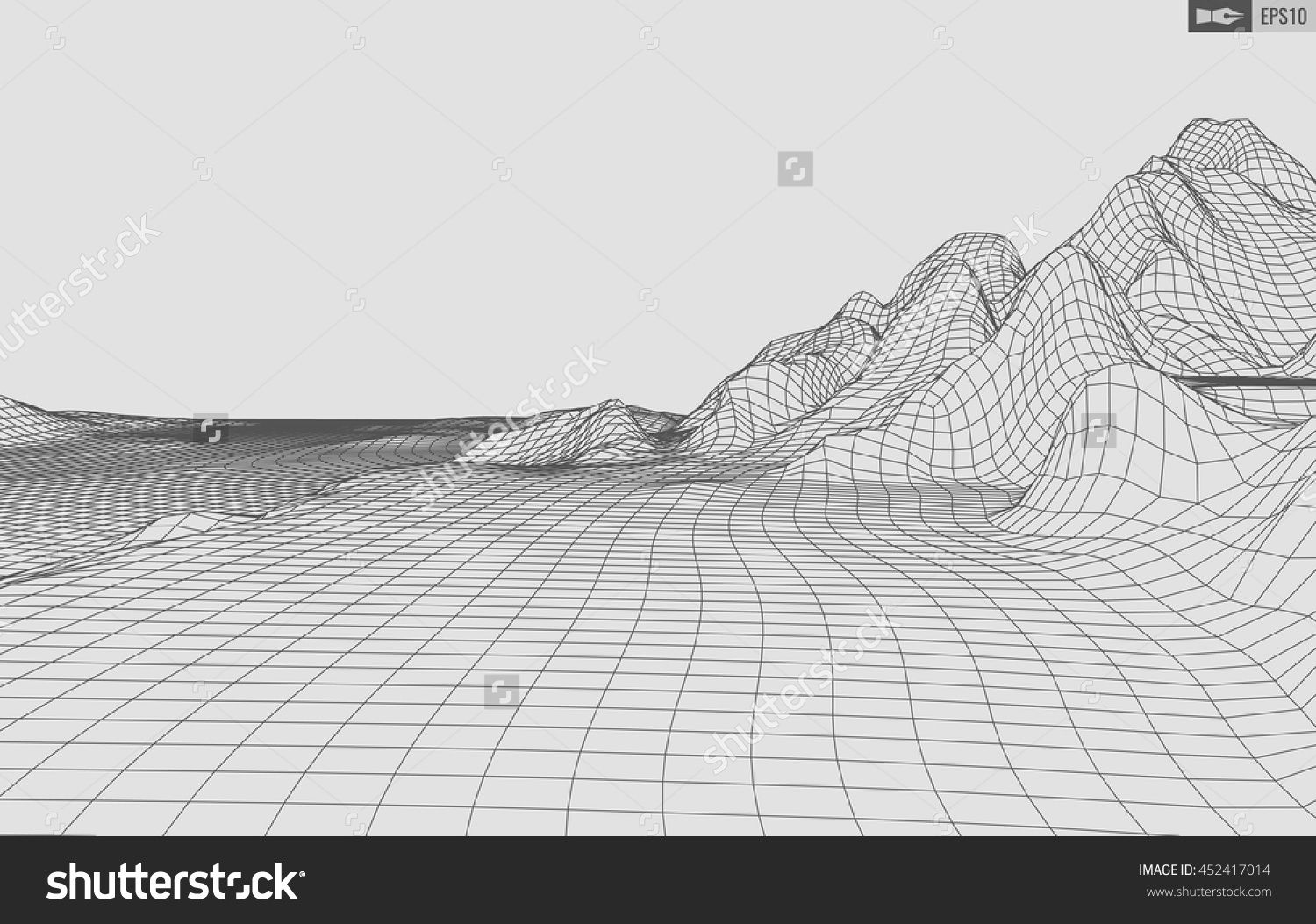 1500x1053 Abstract Vector Wireframe Landscape Background. Cyberspace Grid