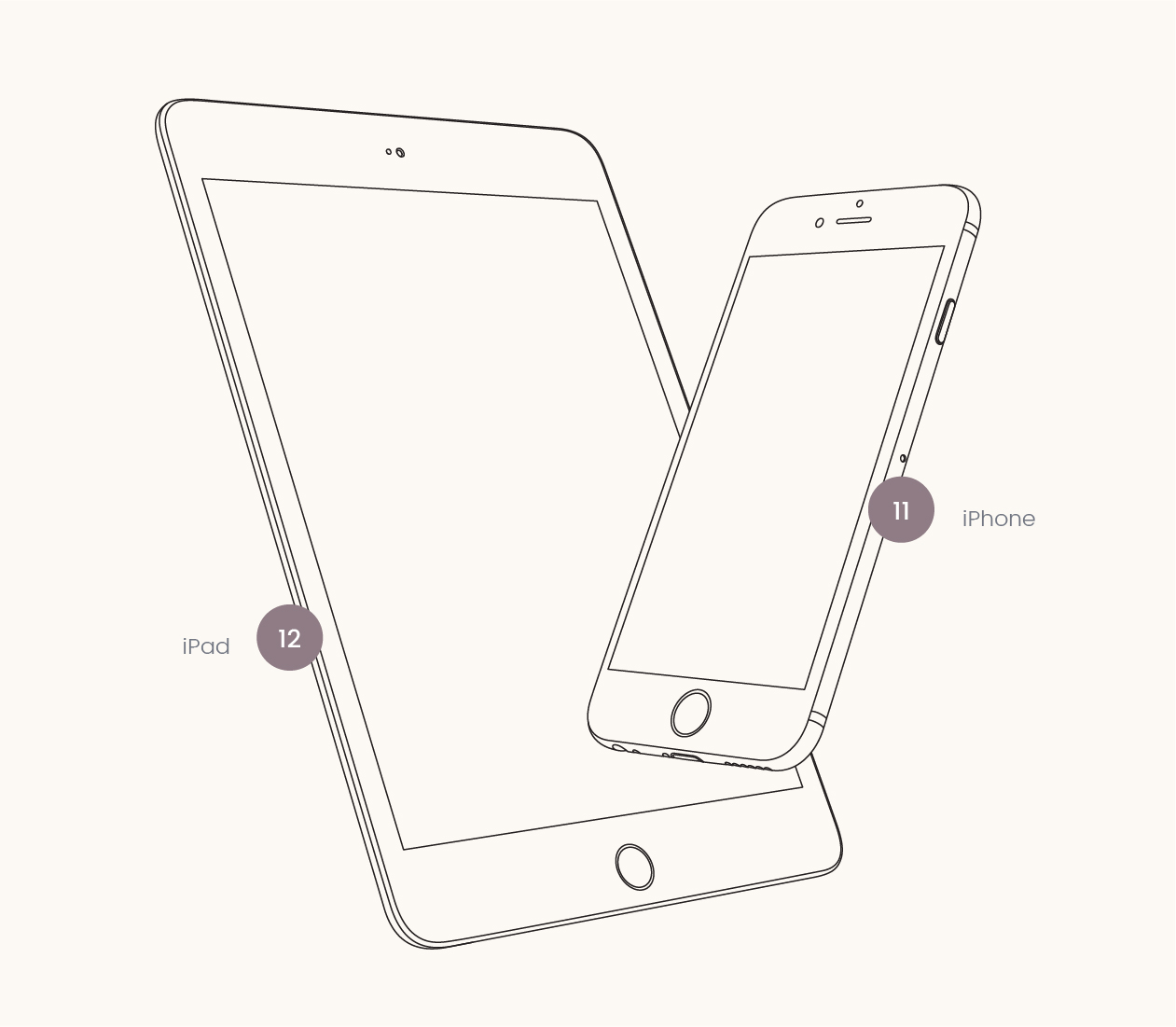 1261x1101 Apple Device Vector Wireframes
