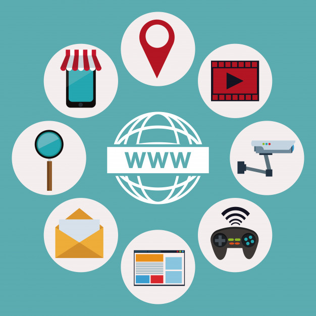626x626 Logo World Wide Web With Icons Elements Technology Wireless Vector