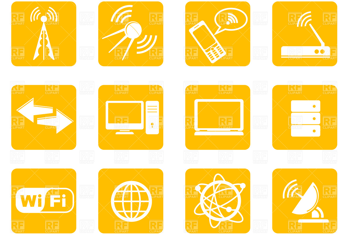 1200x814 Simple Wireless Technology Icons Vector Image Vector Artwork Of