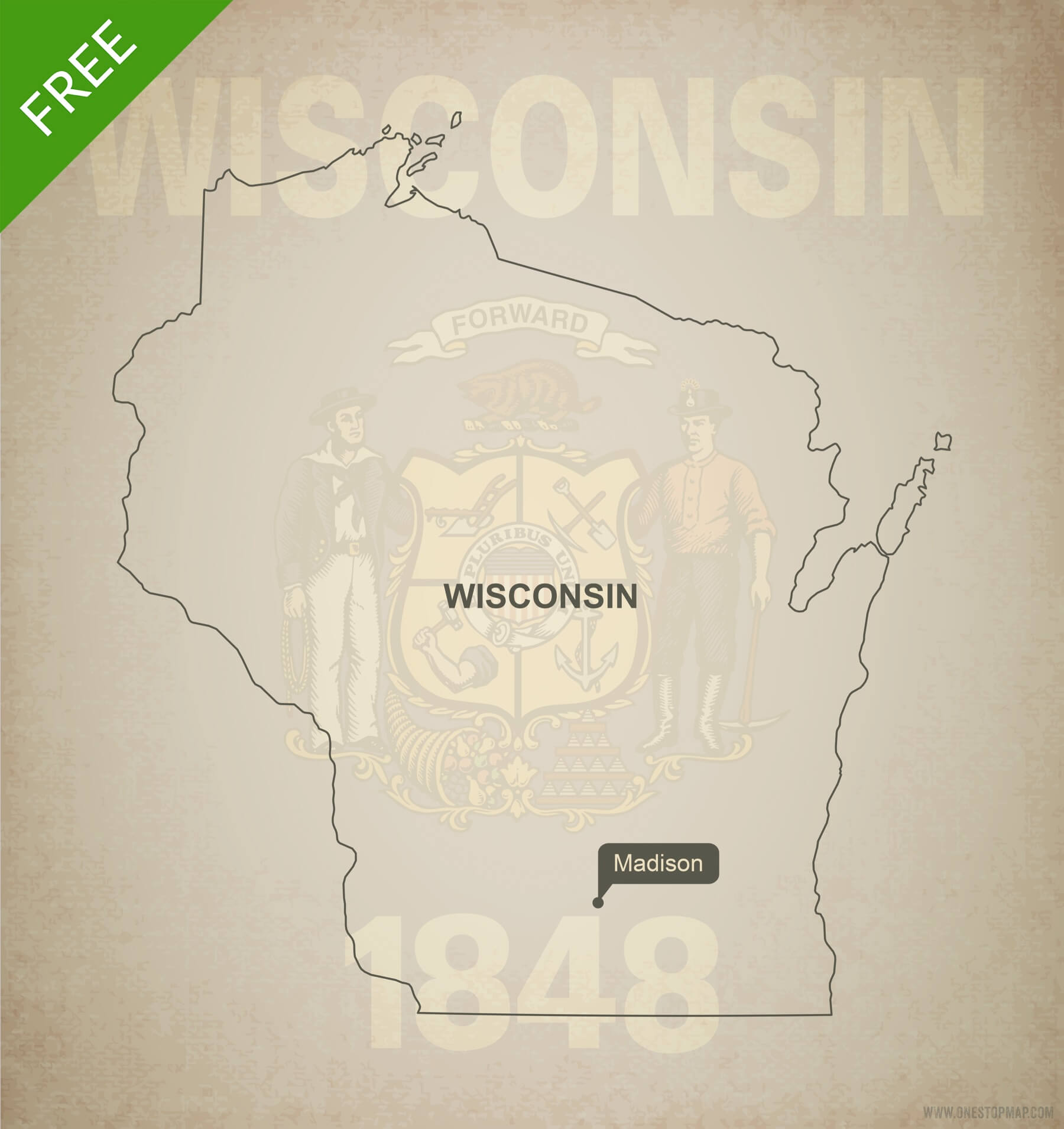 1800x1910 Free Vector Map Of Wisconsin Outline One Stop Map