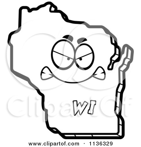 450x470 Cartoon Clipart Of An Outlined Mad Wisconsin State Character
